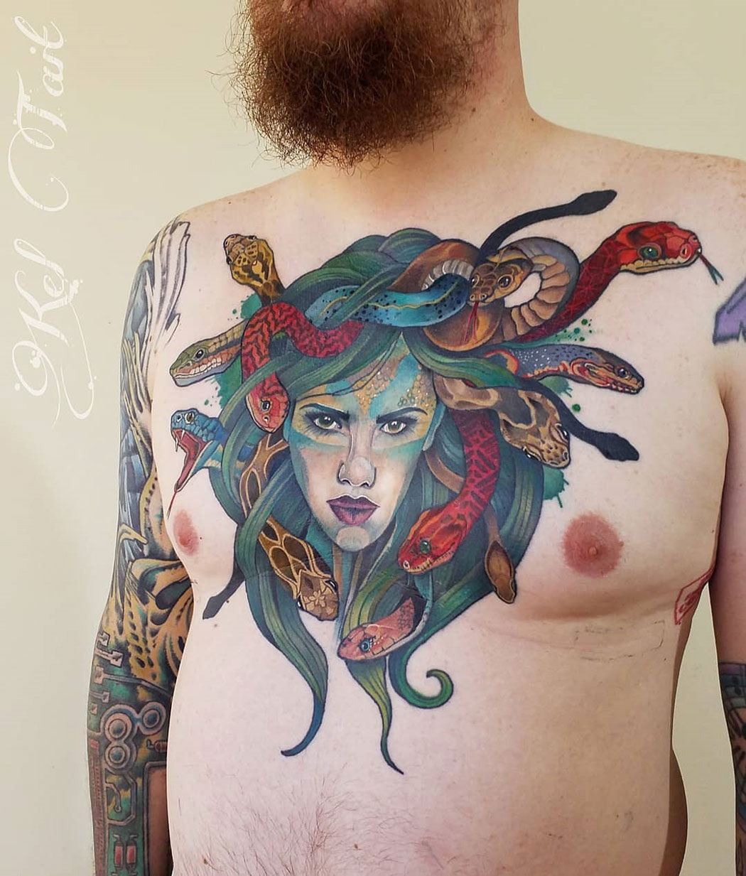 Medusa men's chest tattoo