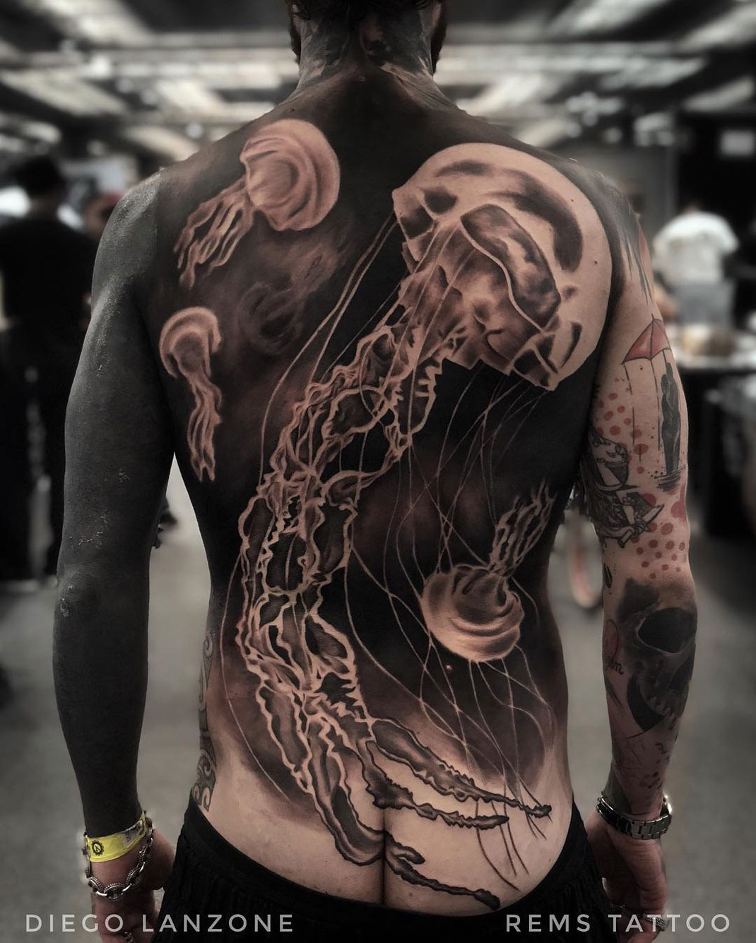 Jellyfish Back Tattoo