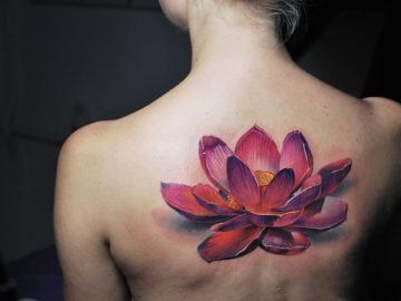 Realistic pink Lotus Flower back tattoo