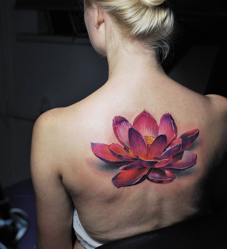 Realistic pink Lotus Flower back tattoo