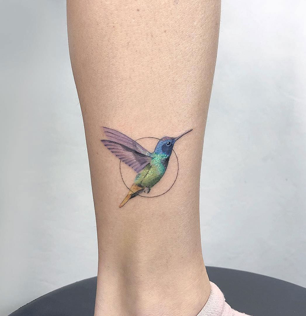 Hummingbird Ankle Tattoo