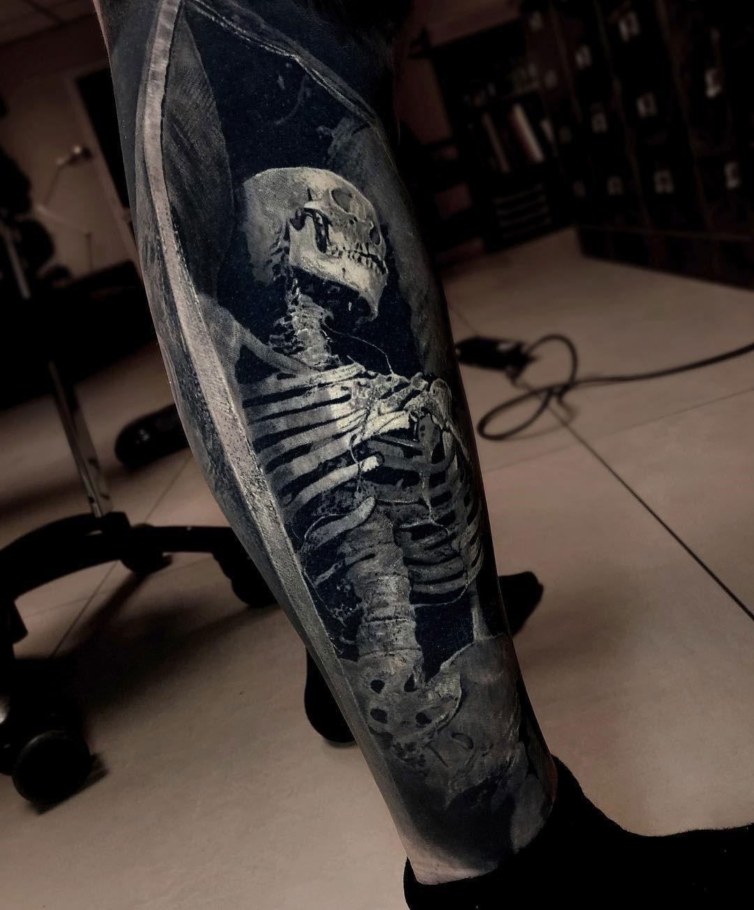 3d Skeleton On Guys Calf Best Tattoo Design Ideas