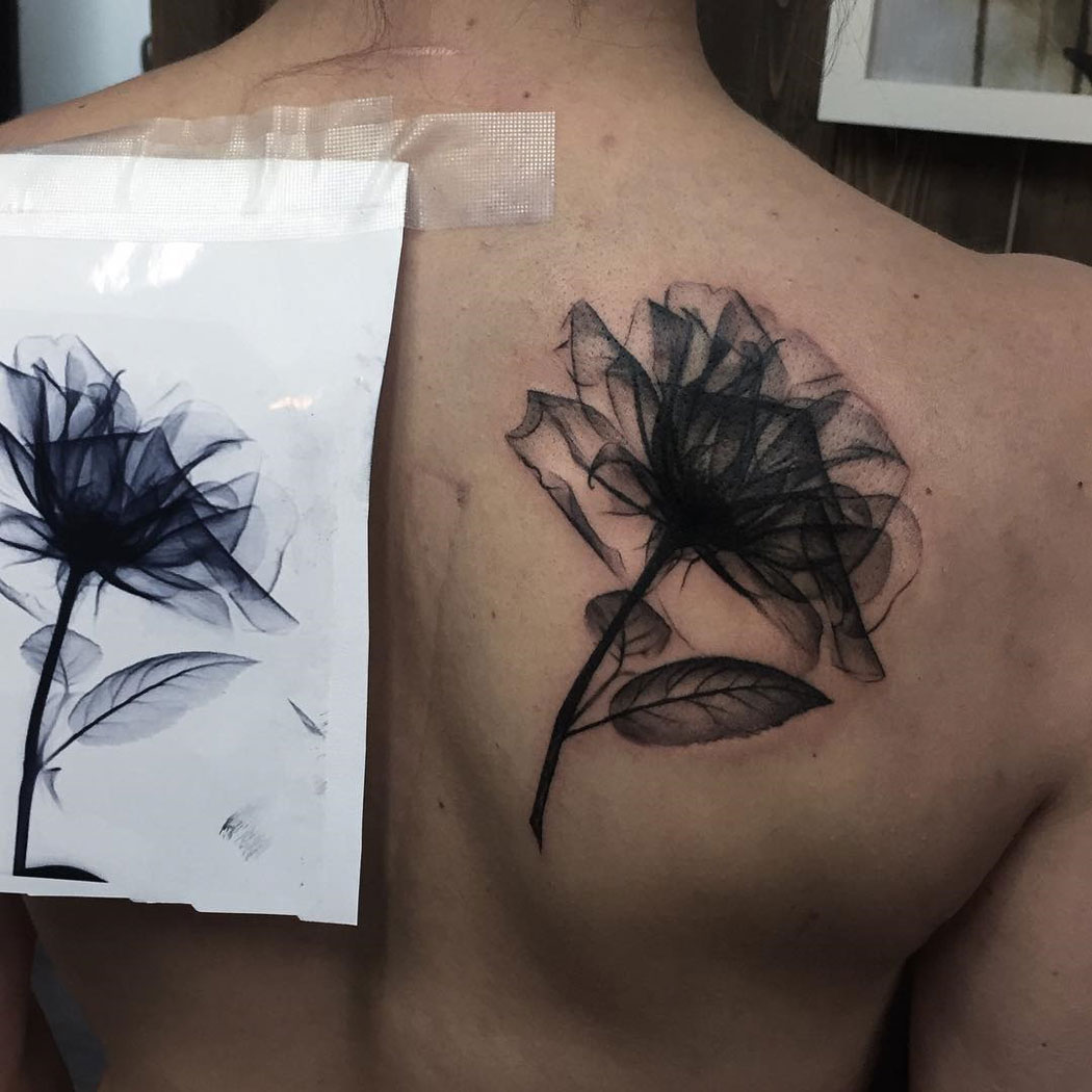 X Ray Rose Black Ink Back Piece Best Tattoo Design Ideas