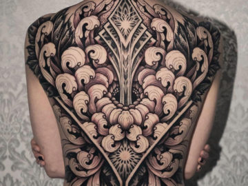 Chrysanthemum back tattoo