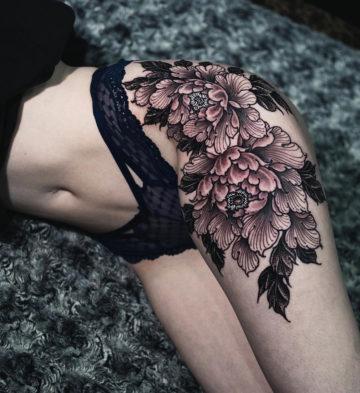 Peonies thigh tattoo