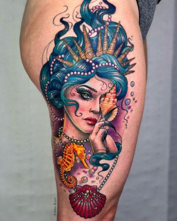 Mermaid & seahorse thigh tattoo