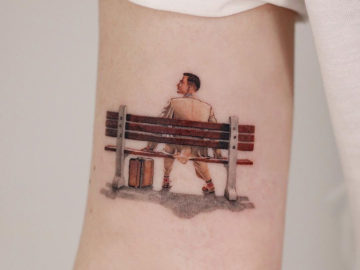Forrest Gump tattoo, bench scene