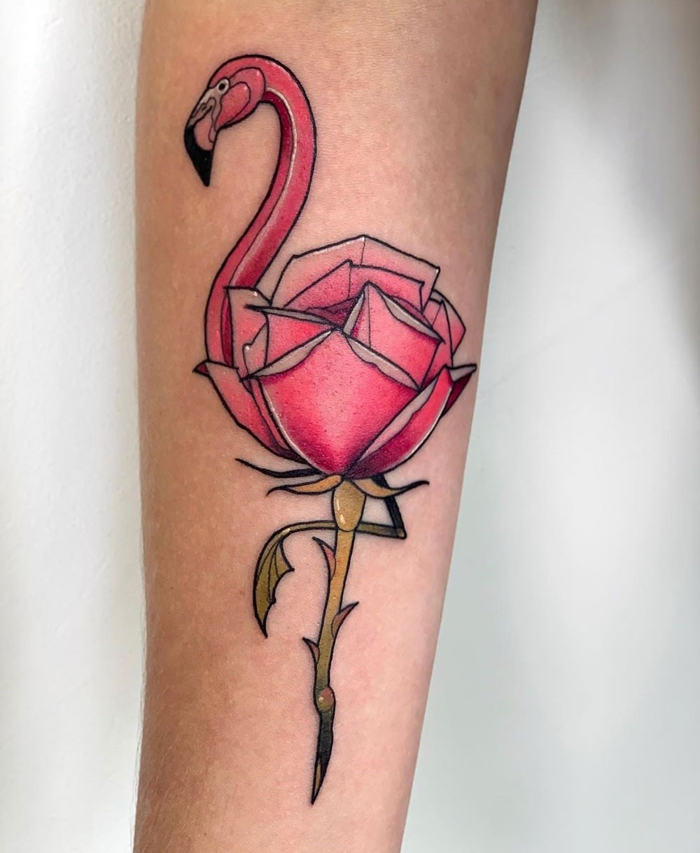 Flamingo merged with pink rose