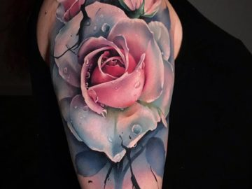 Pale Rose shoulder tattoo