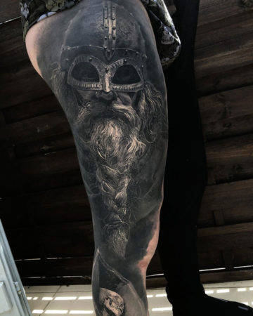 Viking leg tattoo