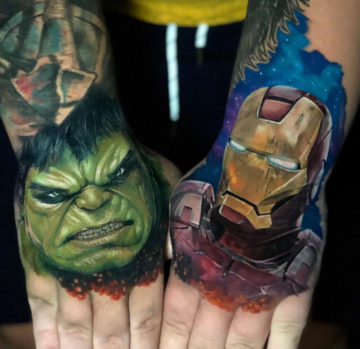 Hand Tattoos of Hulk & Iron Man