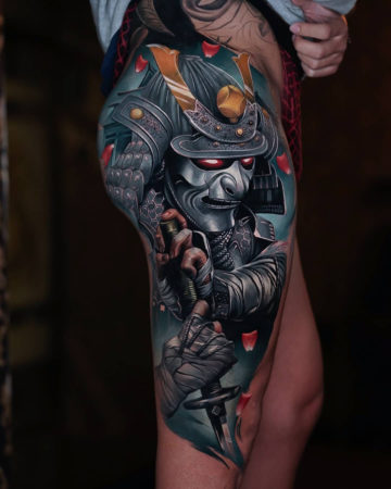 Samurai leg tattoo