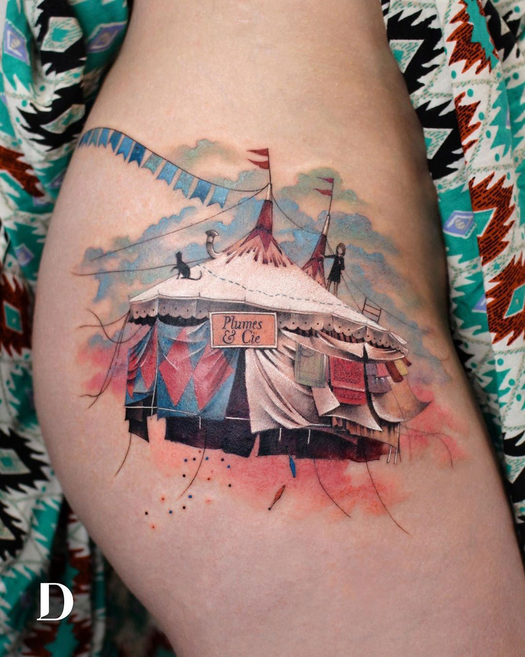 Circus big top tent hip tattoo