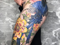 Blue Bird, Snake & Flowers