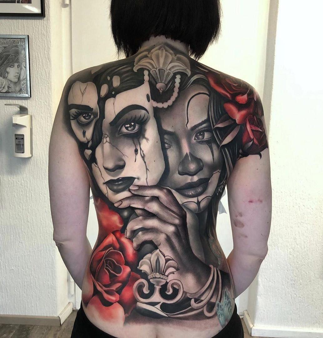 Clown girl tattoo back tattoo