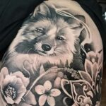 Fox & Flowers, b&g tattoo