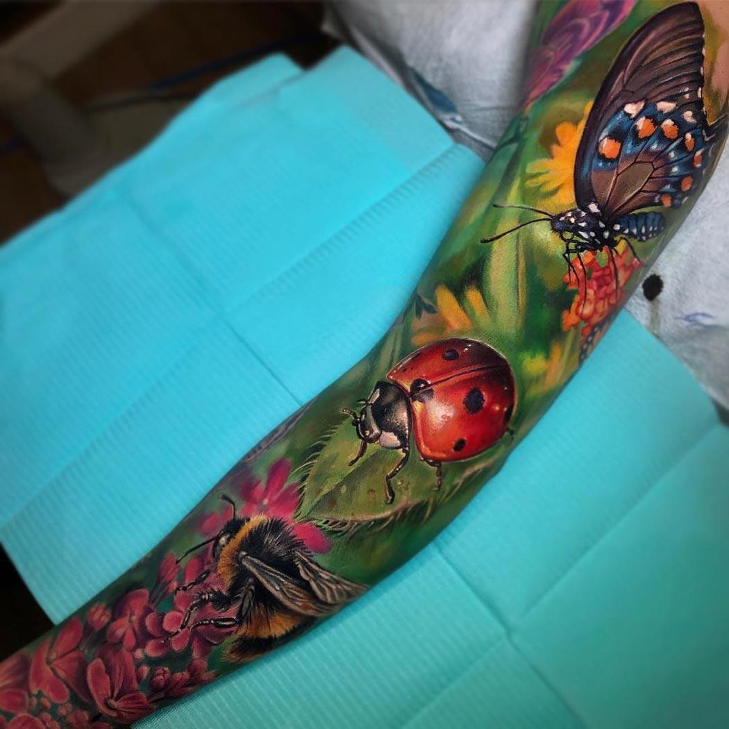 Bee, butterfly & ladybird