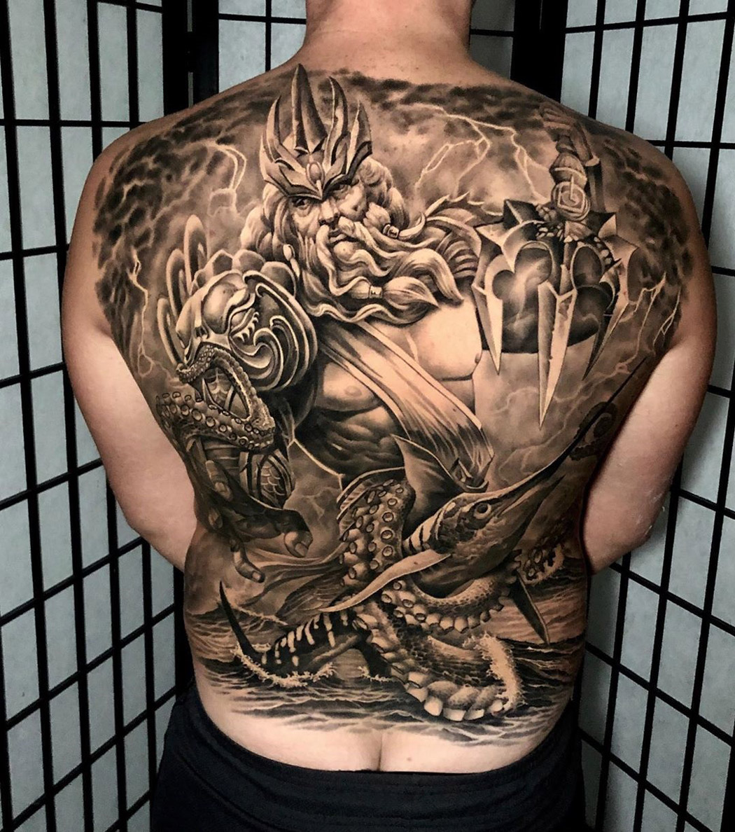 Poseidon Full Back Tattoo Best Tattoo Design Ideas