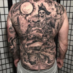 Skeleton Pirate Back Tattoo