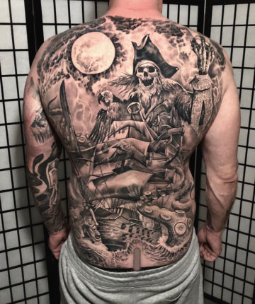 Skeleton Pirate Back Tattoo