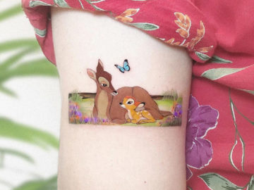 Bambi, small arm tattoo