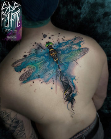 Dragonfly & DNA back tattoo