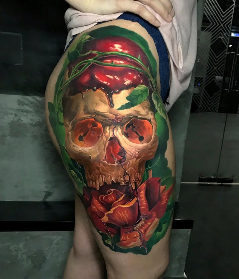 Skull & rose hip and thigh piece