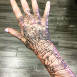 Starry Night hand tattoo