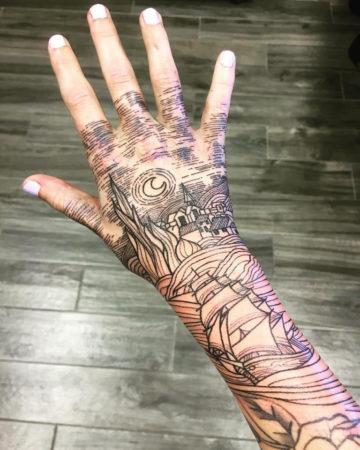 Starry Night hand tattoo