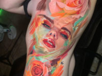 Portrait With Colorful Brushstrokes & Roses