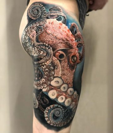 Octopus on woman's hip
