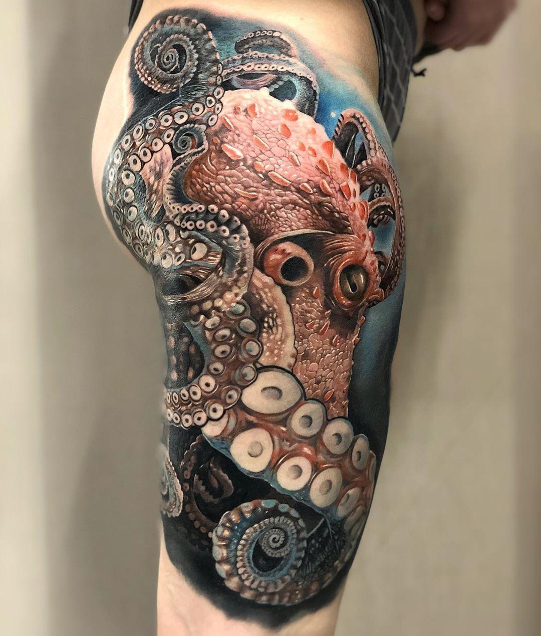 Octopus on woman's hip