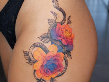 Snake and Rainbow Peonies