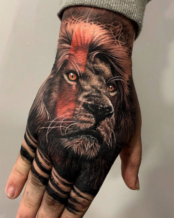 Lion Hand Tattoo
