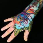 Vivid Peony Hand Tattoo