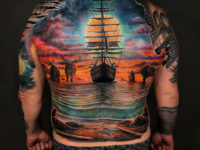Sailing Ship Full Back Tattoo