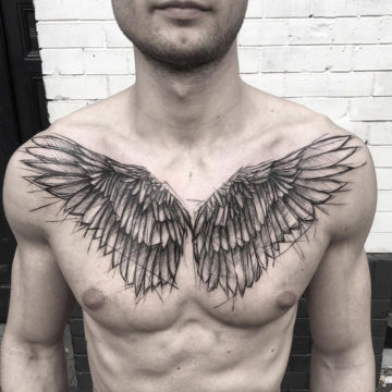 Sketch wings on mens chest