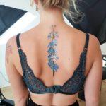 Blue Delphinium Back Tattoo
