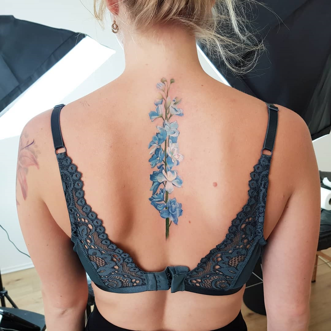 Blue Delphinium Back Tattoo