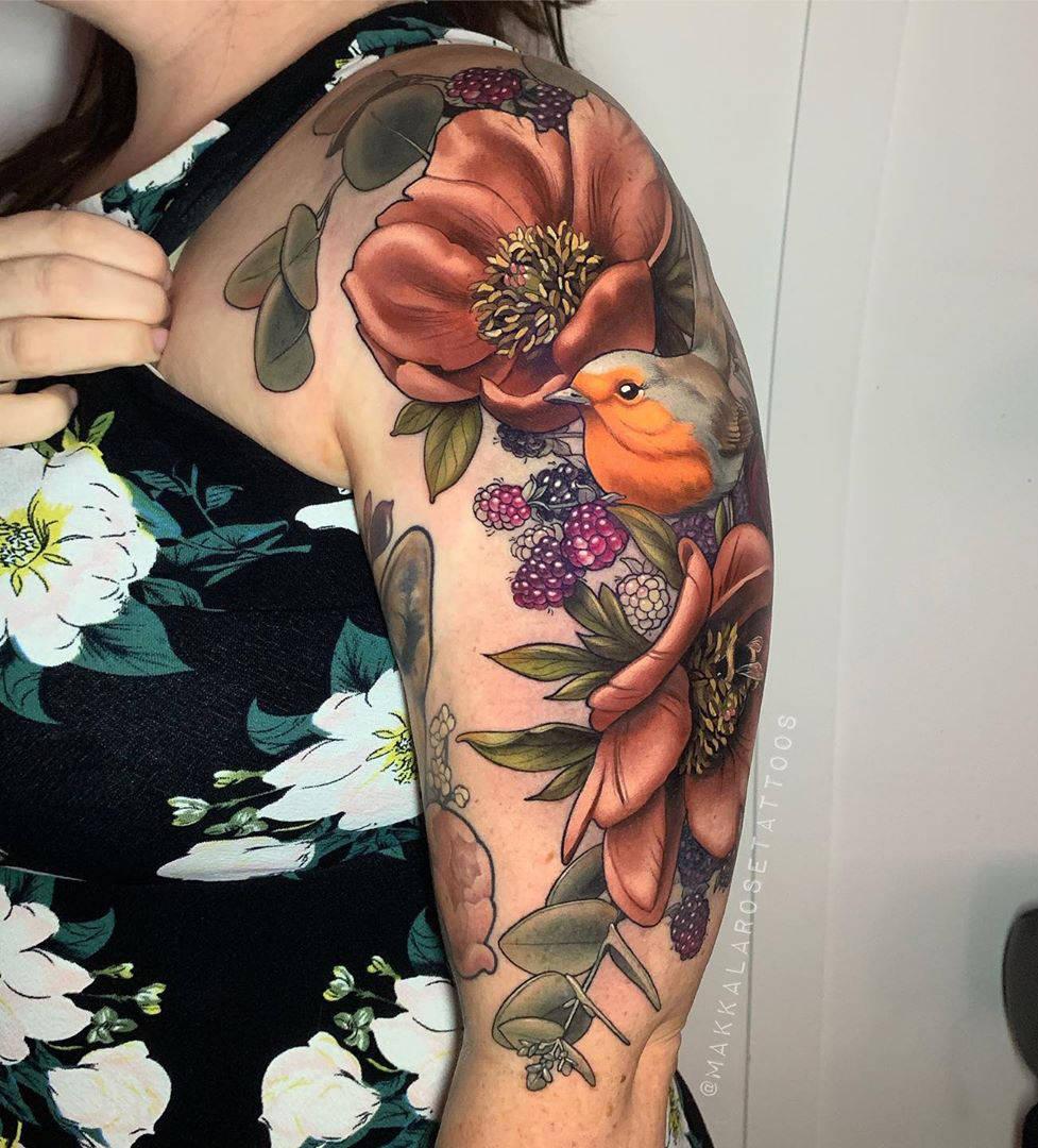 Raspberries, flowers and bird