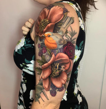 Robin Red Breast & Flowers