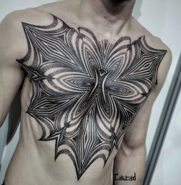 Trippy Chest Tattoo Side View