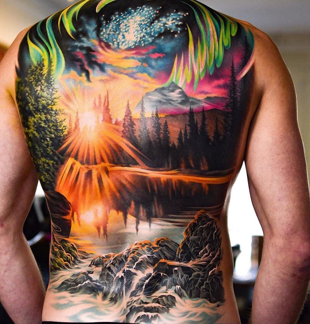 Northern Lights full back tattoo