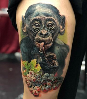 Baby Chimpanzee & Grapes