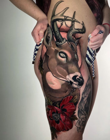 Deer Hip Tattoo