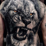 Lion Portrait on Men's Back