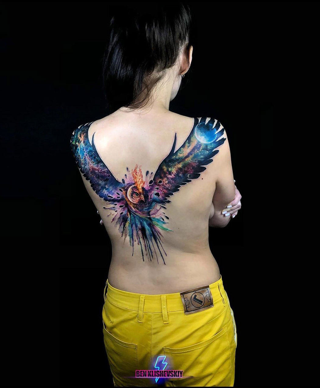 Space Owl Back Tattoo