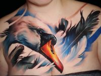 Swan Chest Tattoo