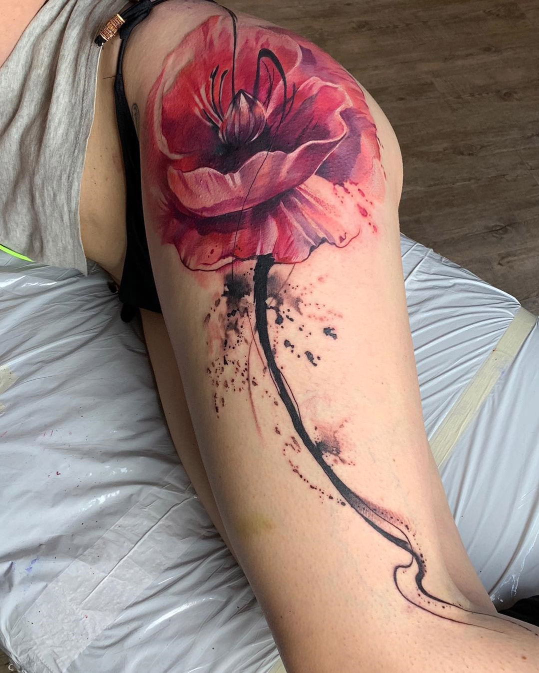 Pink Poppy Hip Tattoo
