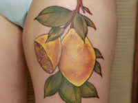 Lemon tree branch tattoo